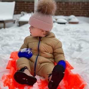 Down snow suit.